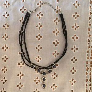 Blue 3 Strand Feminine Choker-Style Necklace